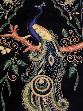 Peacock Wall Hanging Rug Jewel Carpet Kashmir Hand Embroidery Indian Room Decor