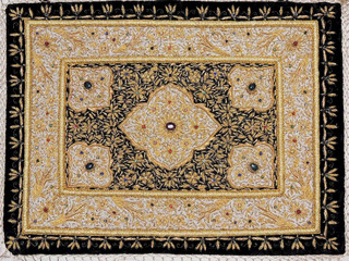 Kashmir Zardozi Jewel Carpet Rug Handmade Traditional Decorative Wall Hanging