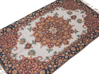 Chain Stitch Embroidered Rug Floral Kashmir Wall Carpet Huge Crewel Art Tapestry