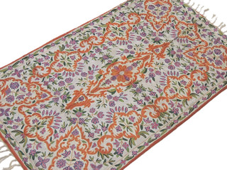 Kashmir Silk Embroidered Rug Traditional Wall Carpet Floral Design Art Tapestry