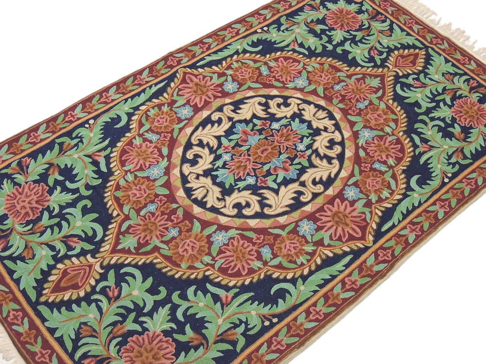 Mughal India Wall Hanging Kashmir Wool Decorative Rug Tapestry Crewel Embroidery