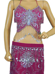 Pink Belly Dance Costume Exotic Dancer Clothing Halter Choli Bra Coin Skirt M