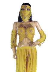 Yellow Belly Dancing Outfit Lyrical Dance Dress Harem Pants Bra Top Veil S