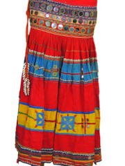 Multicolor Belly Dance Costume Handmade Ethnic Gypsy Mirror Work Belt Skirt S
