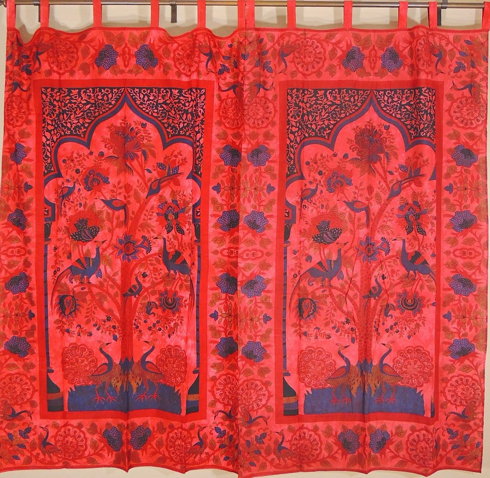 Tree Of Life Curtains Peacocks Print Indian Home Decor Tab Red Window Panels