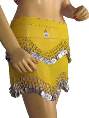 Yellow Hip Scarf Wrap Tribal Bellydance Costume Outfit