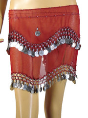 Red Hip Scarf Wrap Belly Dance Costume Belt Coin