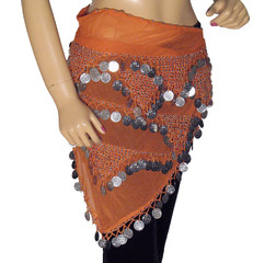 Orange Wrap Hip Scarf Belly Dance Costume Belt Coin