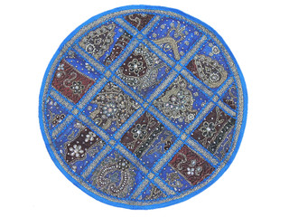 Blue Round Lounge Pillowcase 26in Sari Tapestry Cushion Indian Interior Decor