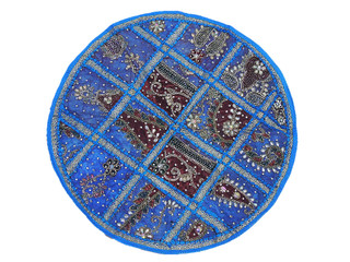 Blue Oversized 26in Living Room Floor Pillow Chic Ethnic Décor Cushion Cover