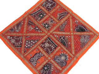 Unique Orange Luxury Cushion Cover Indian Floor Big Living Room Pillow Decor