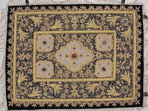 Gold Wall Hanging Jewel Carpet – Kashmir Zardozi Embroidery Home Decoration