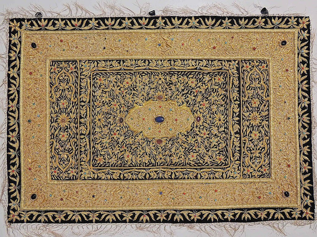 indian jewel carpet ethnic large wall hanging with gold zardozi from kashmir - Large Wall Hangings