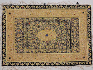 Indian Jewel Carpet – Ethnic Large Wall Hanging with Gold Zardozi from Kashmir
