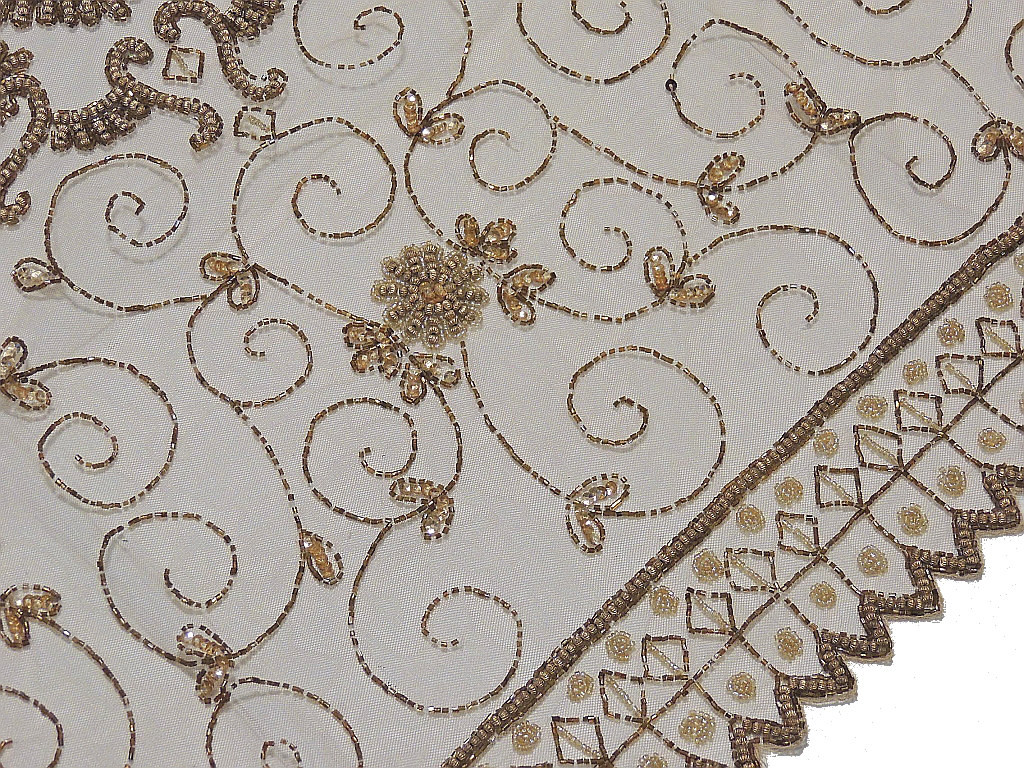 Indian Table Overlay U2013 Ecru Net Fabric Beaded Designer Square Table Linens  40in · Image 2 · Image 3 ...