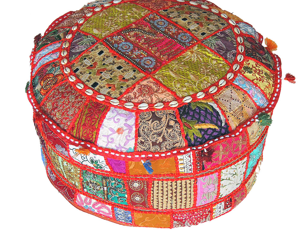 Ethnic Pouffe U2013 Big Round Decorative Patchwork Floor Indian Hassock Cover.