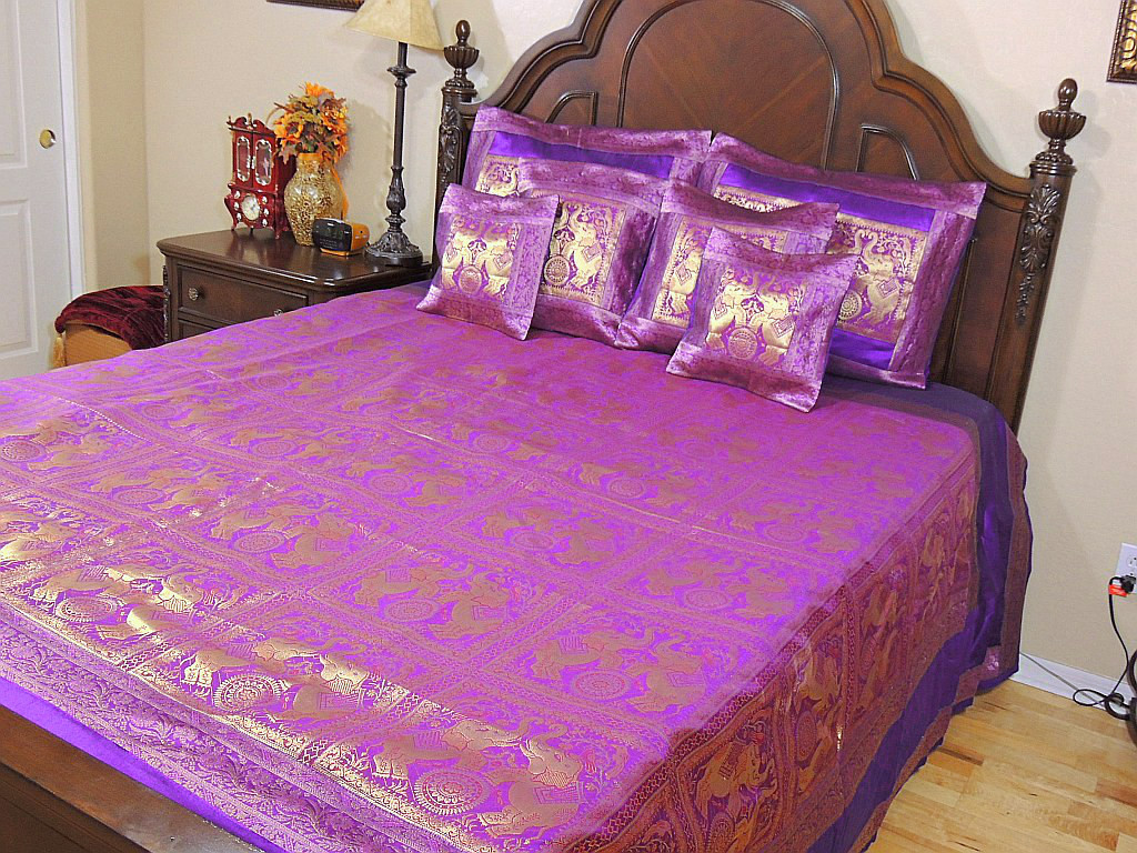 Luxury Indian Bedding Set Purple Gold Elephant Zari