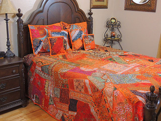 Beautiful India Style Bedding Handmade 7P Bedspread Shams Duvet King Ensemble