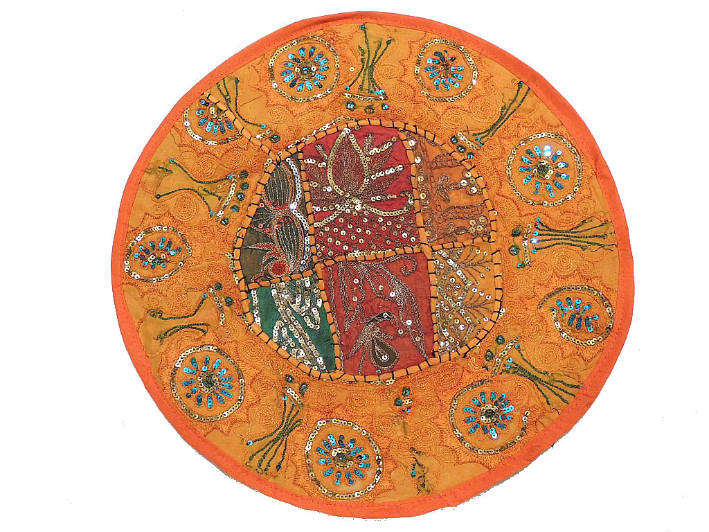 Round Orange Chair Cushion   Indian Inspired 16 Inch Pillowcase.