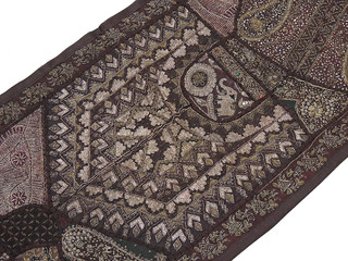 Pretty Wall Tapestry - Vintage Handmade Indian Patchwork in Chocolate