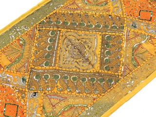 Rajasthani Wall Hanging - Yellow Sequin Patchwork 60-in Decoration
