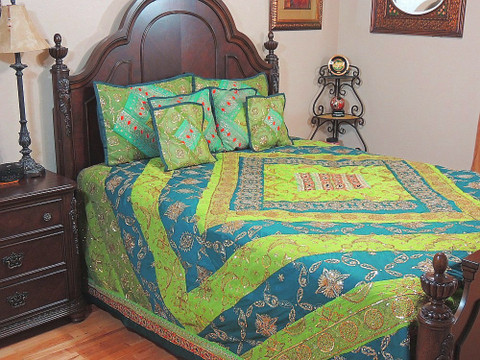 Decorative Indian Sari Bedding Stylish Exotic 7P Designer Bedspread Duvet Set