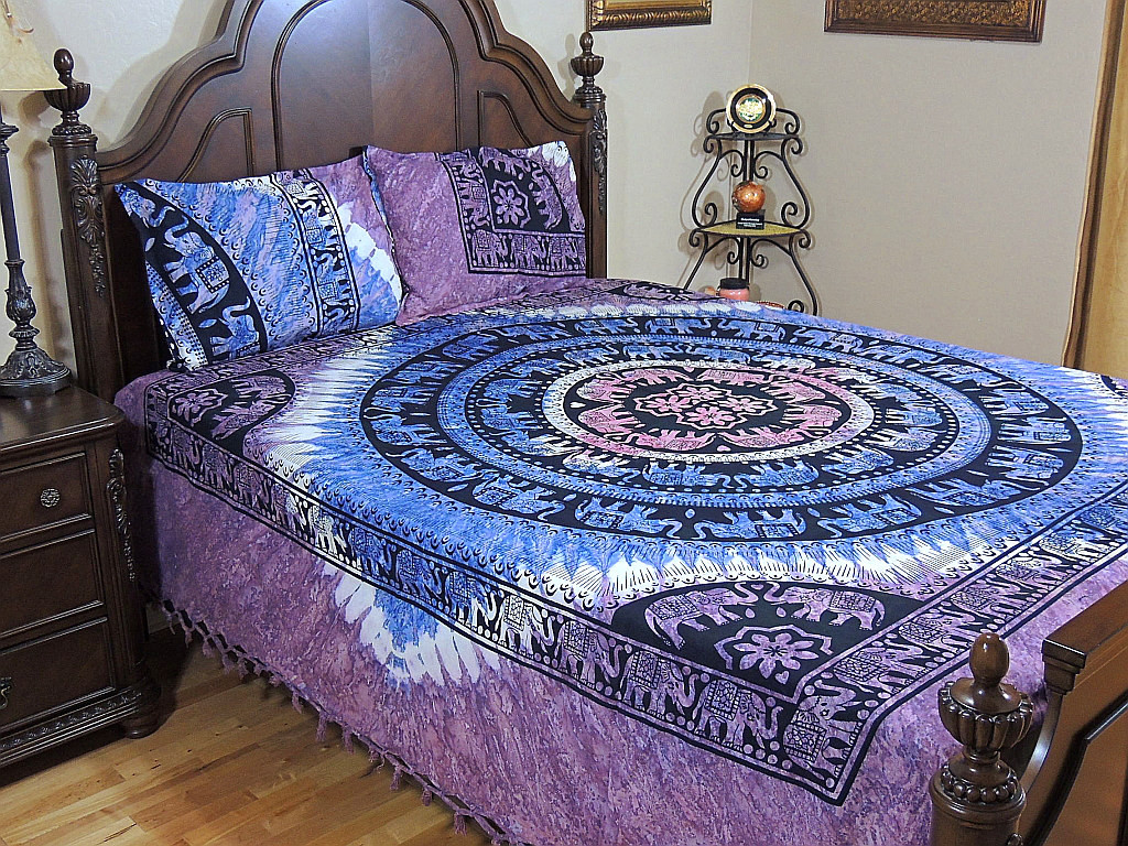 Mandala Bed Sheet Set   Block Print Elephant Cotton Linens From India.