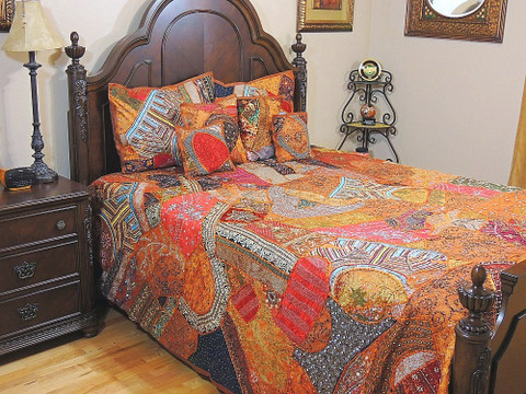 Beautiful India Style Bedding Handmade 7P Bedspread Shams Coverlet King Ensemble