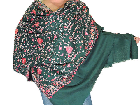 Embroidered Shawl Wrap - Green Large Wool Floral Pattern Afghan