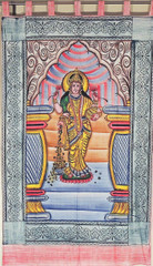 Goddess Lakshmi Wall Hanging - Brush Paint Print Home Decoration