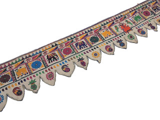 Indian Door Valance - Huge 164 inch Embroidered Kutch Window Toran