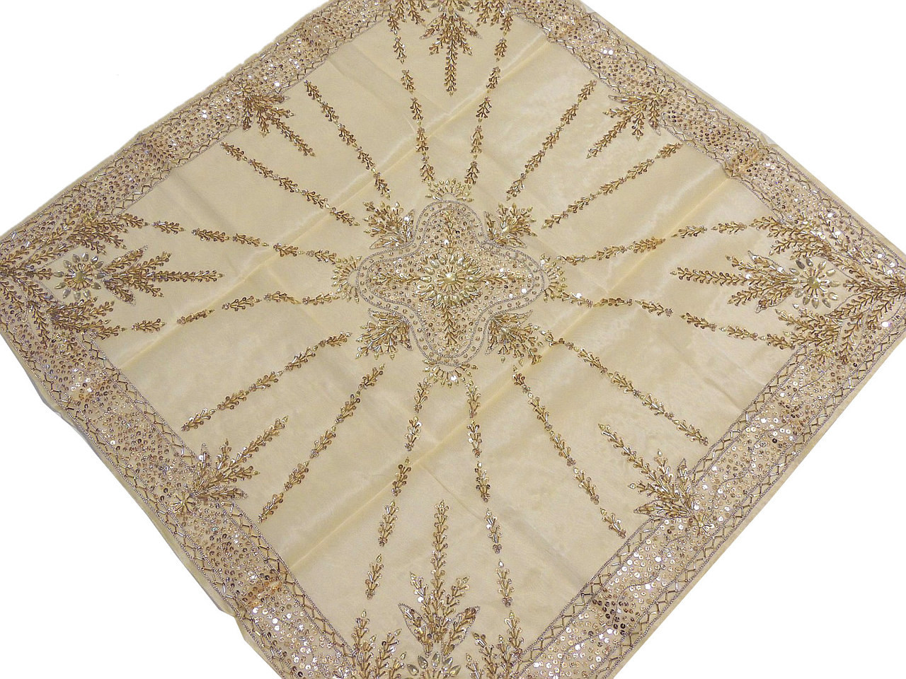 Handmade Tablecloths   Beaded Gold Table Decor Linens From India.