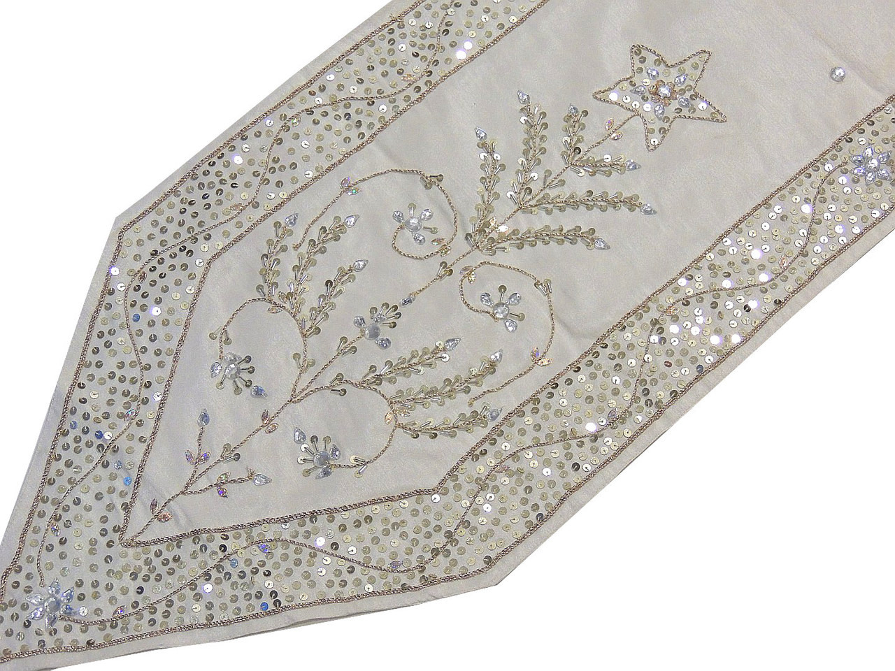 Decorative Table Runners   White Beaded Embroidered Linens 72 Inch · Image  2 · Image 3 ...