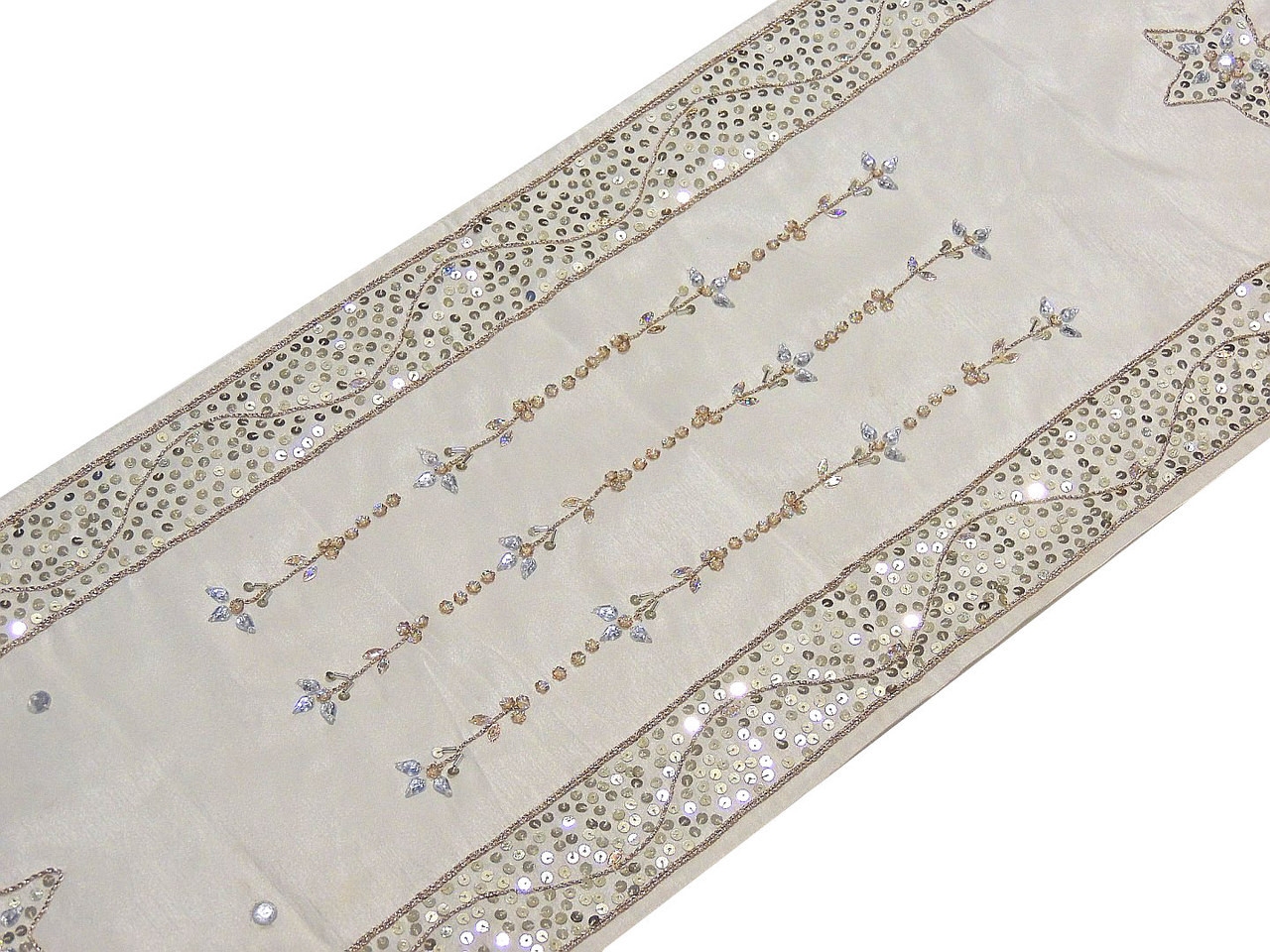 Decorative Table Runners   White Beaded Embroidered Linens 72 Inch.