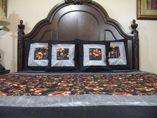 Designer Linens Bedding Bedspread Black Embroidery India Elegant Bedroom Decor