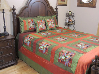 Designer Trendy Peacock Bedspread Embroidered 5P India Bedding Home Furnishing