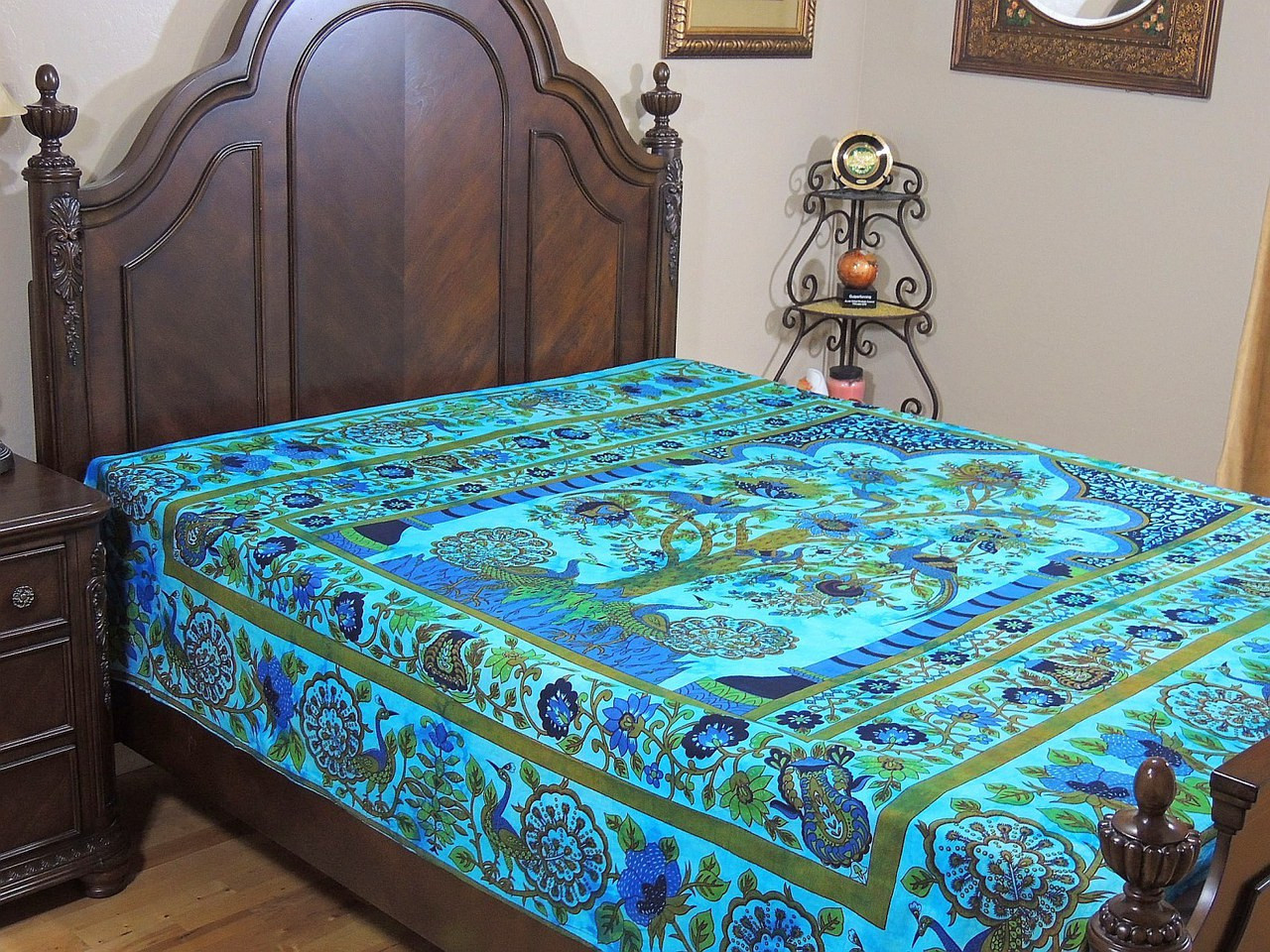 Peacock bedding blue tree of life cotton bohemian full bed sheet novahaat - Peacock bedspreads ...