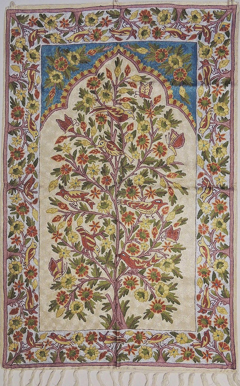 Wall Decoration Rug Tree Of Life Unique Aari Embroidered