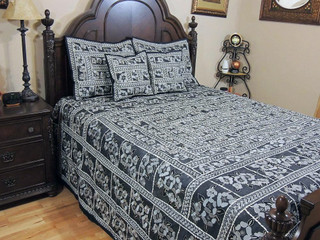 Decorative India Inspired Duvet Parsi Embroidery Tapestry Bedding Bedspread Set