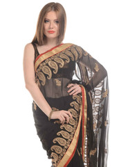 Black Saree - Chiffon Fabric Zari Embellished Party Dress for Women