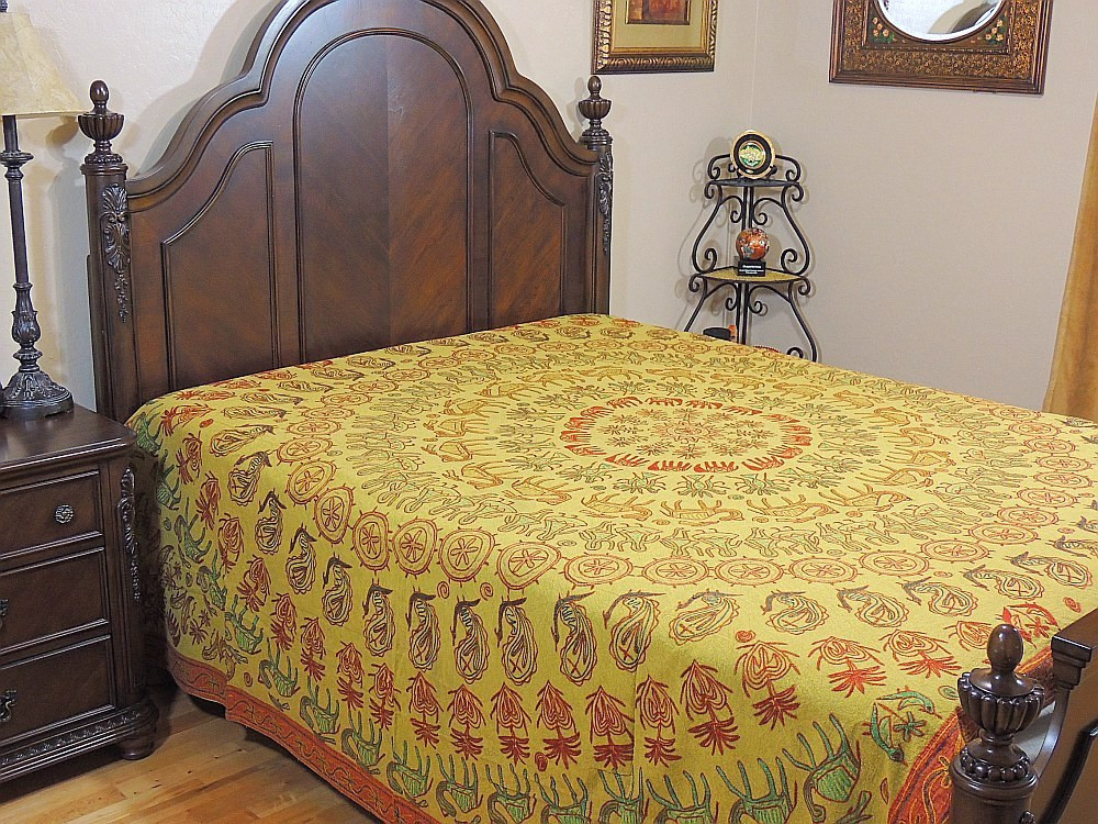 Ethnic Embroidered Rajasthan Bedding Indian Bedspread Cotton Bed Linens  Tapestry