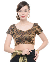 Bollywood Blouse - Black Paisley Gold Brocade Designer Saree Choli Top 38""