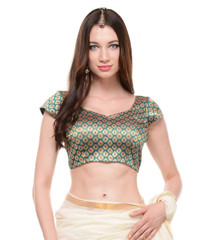 Green Brocade Saree Blouse - Bollywood Fashion Party Wear Choli Top 36""