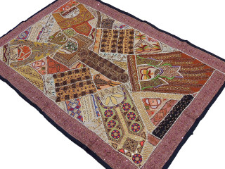 Multi Colored Tapestry - Wood Beadwork Decorative Patchwork Wall Hanging 60""