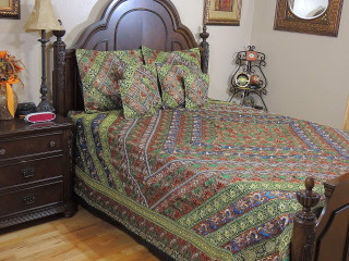 Embroidered Duvet Set King - Luxury Bohemian Indian Bedding Pillows Cushions