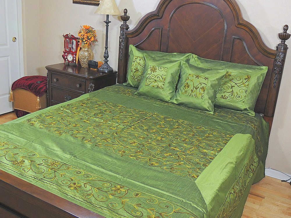 Image result for GREEN EMBROIDERED SILK BED SPREAD