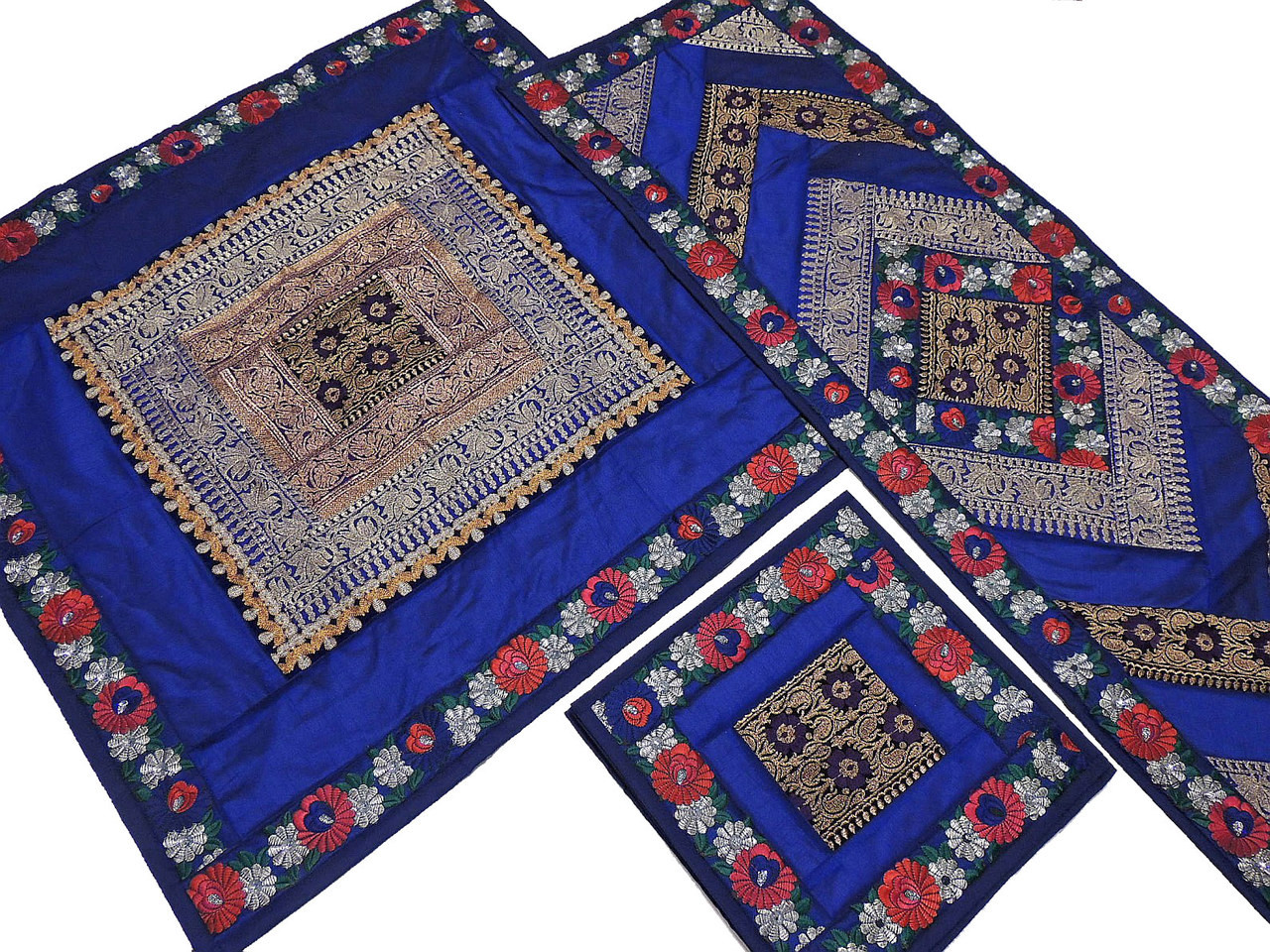 Luxury Table Linens Set   Blue Fine Embroidery Beaded Overlay Runner  Placemats.