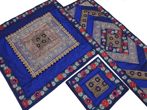 Luxury Table Linens Set - Blue Fine Embroidery Beaded Overlay Runner Placemats