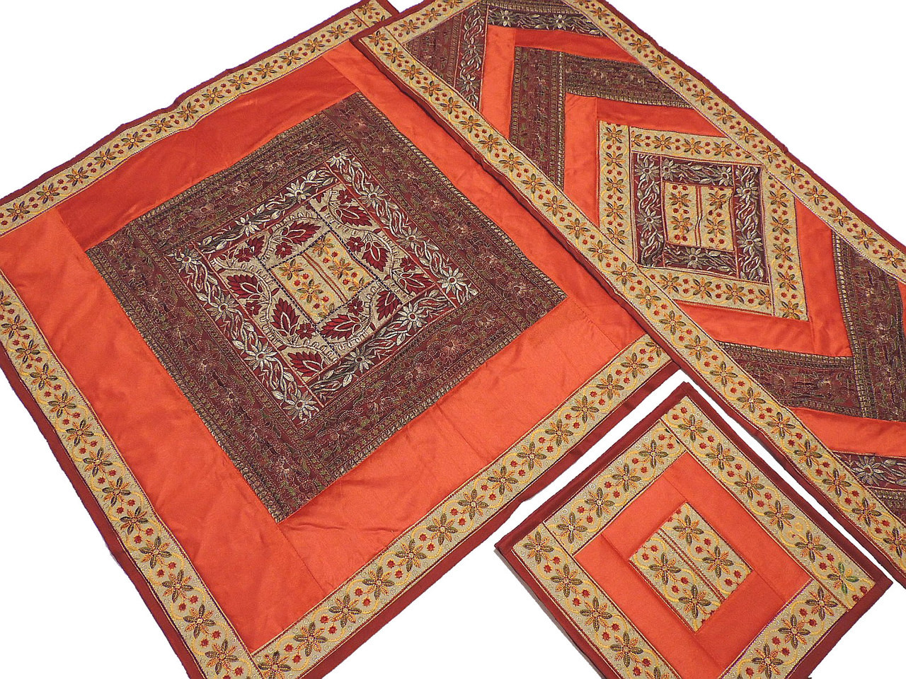 Classic Table Linens Set From India   Orange Tablecloth Runner 4 Placemats.