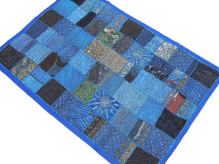"""Blue Traditional Beaded Patchwork Tapestry - Elegant Large Ethnic Wall Decoration 60"""" x 40"""""""